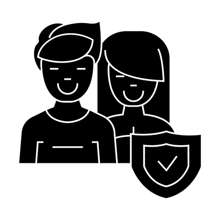 man and woman - front - shield icon, illustration, vector sign on isolated background Illustration
