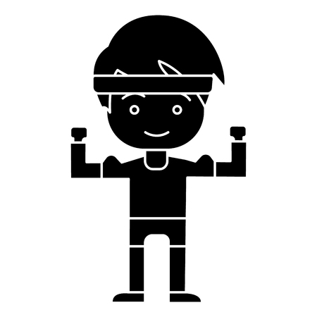 man boy strong - hands up icon, illustration, vector sign on isolated background Illustration