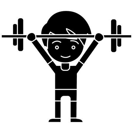 man boy weights up icon, illustration, vector sign on isolated background