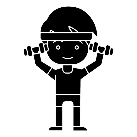man boy workout with weights hands up icon, illustration, vector sign on isolated background