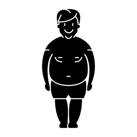 man fat - fat guy icon, illustration, vector sign on isolated background
