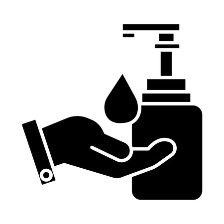 liquid soap with hand icon, illustration, vector sign on isolated background Illustration