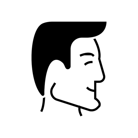 Tête de l'homme - tête humaine - bonne icône de profil d'homme d'affaires, illustration, signe de vecteur sur fond isolé Banque d'images - 88103637