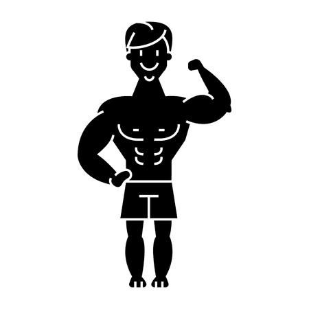 남자 강한 - 보디 - 근육 아이콘, 일러스트, 벡터 격리 된 배경에 서명