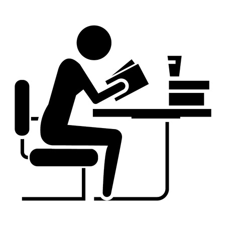 man studing - reading book in library icon, illustration, vector sign on isolated background
