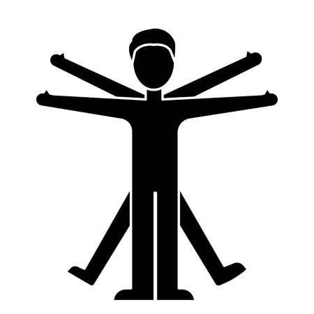 icona vitruvian dell'uomo, illustrazione, segno di vettore su fondo isolato