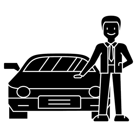 man with new car - car dealer - auto dealership - buying a car icon, illustration, vector sign on isolated background