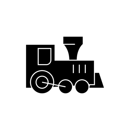 locomotive train toy icon, illustration, vector sign on isolated background
