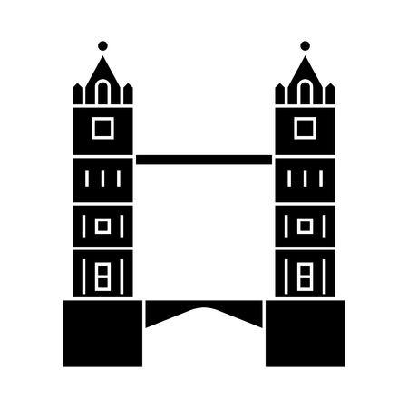 london - tower bridge icon, illustration, vector sign on isolated background