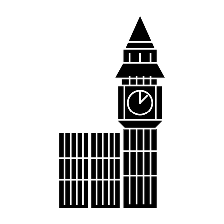 london big ben icon, illustration, vector sign on isolated background