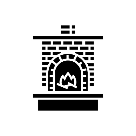 masonry heater - fireplace with brick chimney with fire icon, illustration, vector sign on isolated background