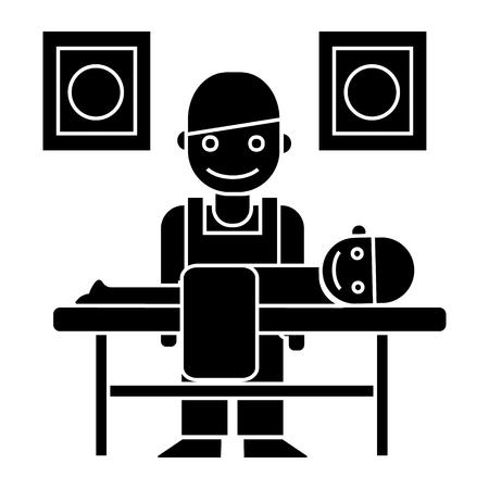 マッサージ師・ カイロプラクターのアイコン、イラスト、ベクトルに孤立した背景に署名します。  イラスト・ベクター素材