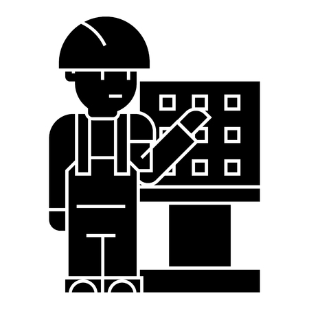 master - foreman - engineer with machine-tool icon, illustration, vector sign on isolated background