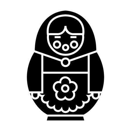 matryoshka icon, illustration, vector sign on isolated background