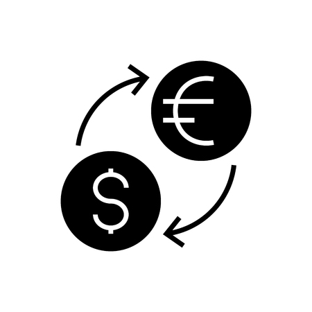 money exchange - dollar euro icon, illustration, vector sign on isolated background