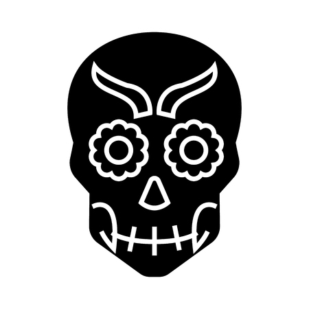 mexican skull icon, illustration, vector sign on isolated background