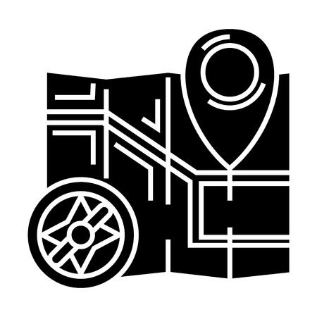 Mappa la navigazione con l'icona della bussola, illustrazione, segno di vettore su fondo isolato Archivio Fotografico - 88130862