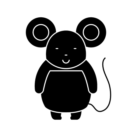 Cute mouse icon design illustration, on a white backdrop. Illustration