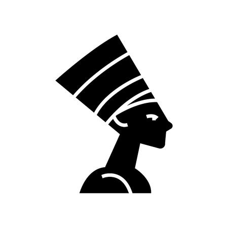 nefertity - エジプトのアイコン、イラスト、ベクトルに孤立した背景に署名します。  イラスト・ベクター素材