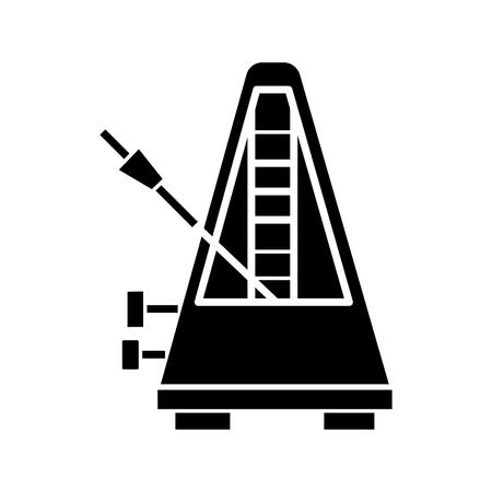 Metronome icon, design illustration on a white backdrop.