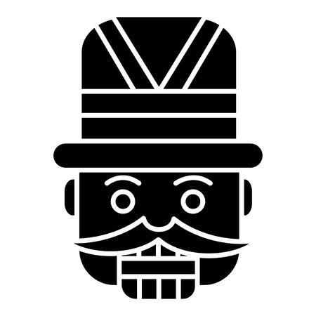 notenkraker - speelgoed soldaat pictogram, illustratie, vector teken op geïsoleerde achtergrond Stock Illustratie