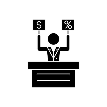 -市場 - オークション アイコン、イラストを提供、ベクトル分離背景に記号