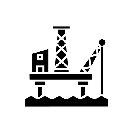 oil platform icon, illustration, vector sign on isolated background