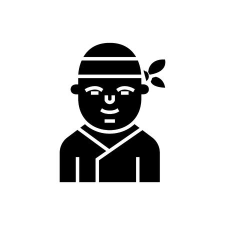 Ninja icon design illustration on white backdrop.