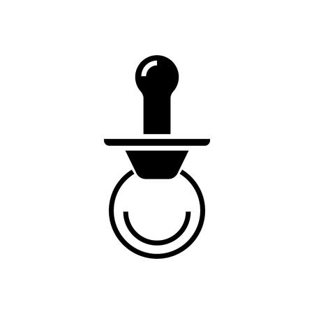 Pacifier icon design illustration on white backdrop.