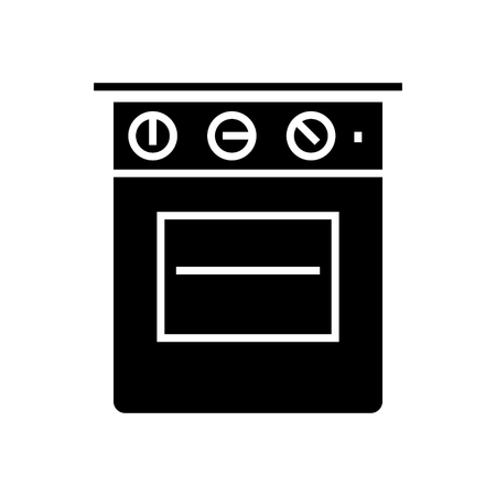 Oven icon in black illustration.