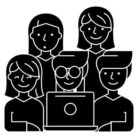 Friends looking at notebook - 5 persons icon, illustration. Illustration