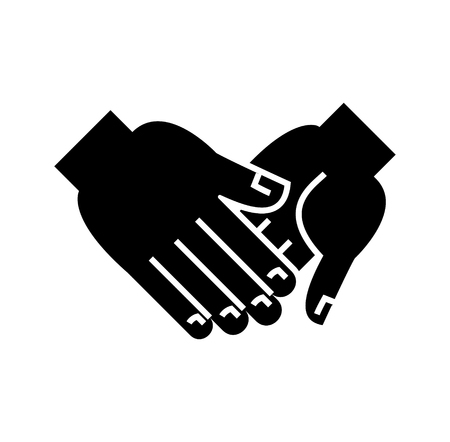 Hand in hand icon, design illustration on white backdrop.