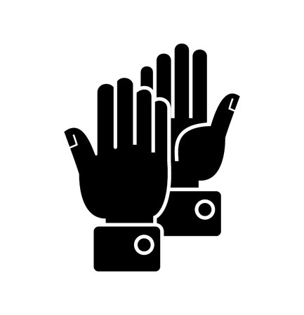 Hands clapping icon, design illustration on white backdrop.