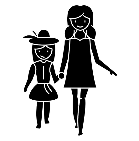 Mother with daughter icon design illustration.
