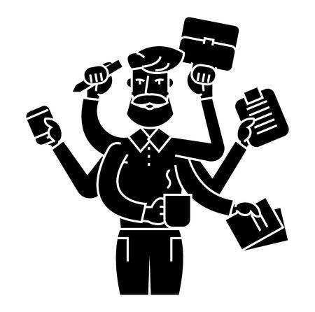 Multitasking businessman icon design illustration.