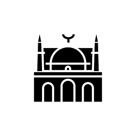 Mosque icon in black illustration.