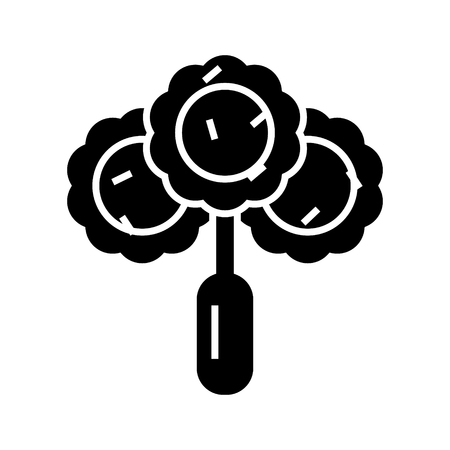 브로콜리 - 샐러드 아이콘, 그림, 벡터 격리 된 배경에 서명 스톡 콘텐츠 - 88157335