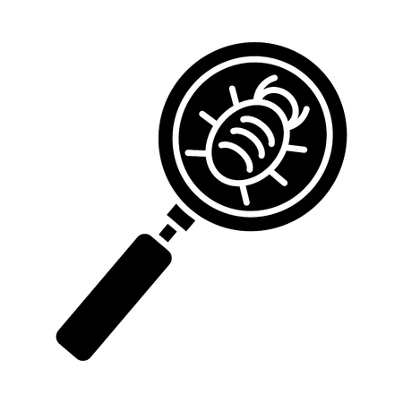 bug searching icon, illustration, vector sign on isolated background Illustration