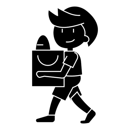 boy with shopping bag icon, illustration, vector sign on isolated background