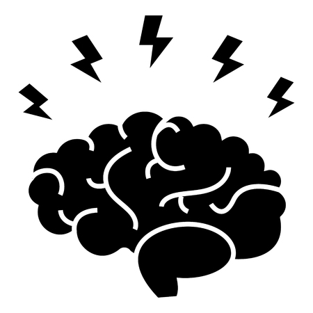 brainstorm - brain with flashes icon, illustration, vector sign on isolated background
