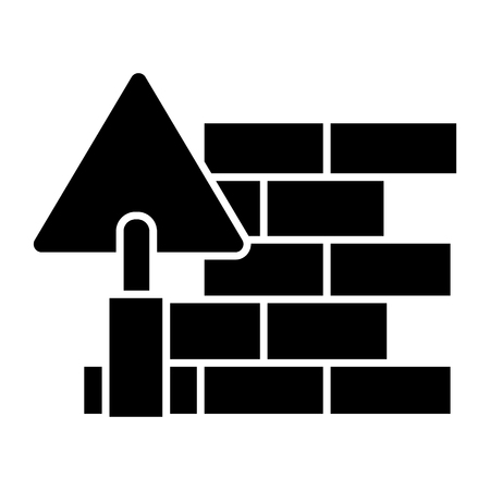 brick wall - diy icon, illustration, vector sign on isolated background