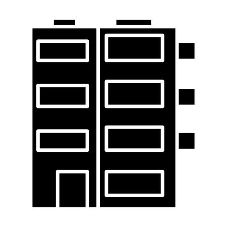 gebouw appartement pictogram, illustratie, vector teken op geïsoleerde achtergrond