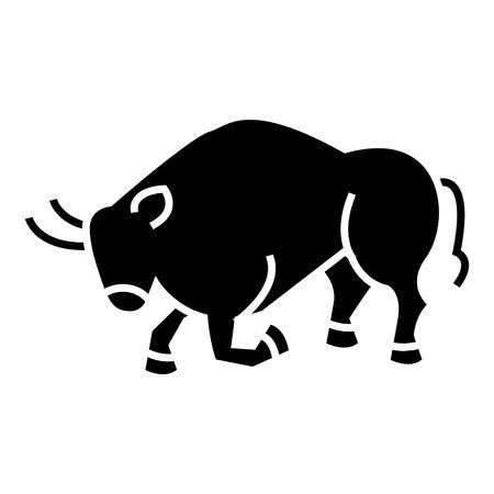 闘牛 - スペインのアイコン、イラスト、ベクトル分離背景に記号