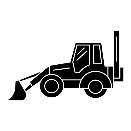 bulldozer icon, illustration, vector sign on isolated background