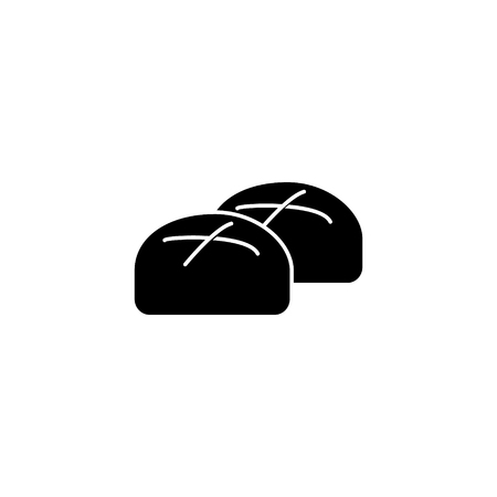 buns roll baked bread icon, illustration, vector sign on isolated background Çizim
