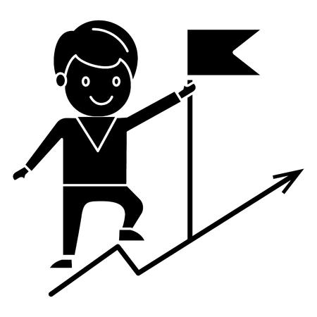 Obiettivo di businenessman achivieng - bandiera sulle montagne icona, illustrazione, segno vettoriale su sfondo isolato Archivio Fotografico - 88157370