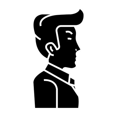 businessman manager side view icon, illustration, vector sign on isolated background