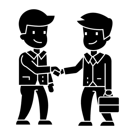 businessmen handshaking icon, illustration, vector sign on isolated background