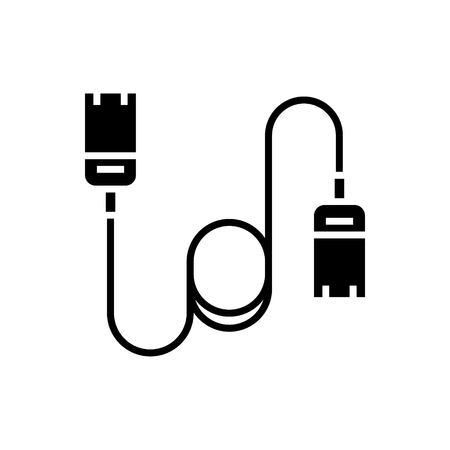 cable computer - ethernet icon, illustration, vector sign on isolated background