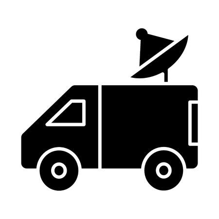 auto-uitzendingen met schotelantenne pictogram, illustratie, vector aanmelden geïsoleerde achtergrond Stock Illustratie